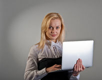 Business woman with working laptop Royalty Free Stock Photo