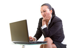 Business woman working on the laptop Royalty Free Stock Image