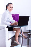 Business woman working on the laptop Royalty Free Stock Photos