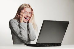 Business woman working on laptop Royalty Free Stock Photos