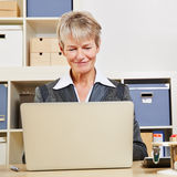 Business woman working at laptop. Elderly smiling business woman working at laptop computer in the office Stock Images