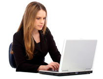 Business woman working on a laptop Stock Image