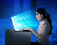 Business woman working with laptop Royalty Free Stock Images
