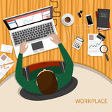 Business woman working with laptop and documents. Office workplace. Business man working with laptop and documents on table, top view. Flat design cartoon style Royalty Free Stock Photography