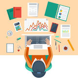 Business woman working with laptop and documents. Office workplace. Business woman working with laptop and documents on table, top view. Flat design cartoon Stock Photos