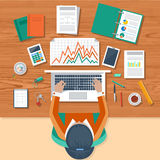 Business woman working with laptop and documents. Office workplace. Business woman working with laptop and documents on table, top view. Flat design cartoon Royalty Free Stock Photography