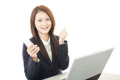 Business woman working on laptop Royalty Free Stock Photography
