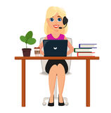 Business woman working on laptop at her office desk. Pretty cart. Oon character with headset. Cute cartoon character. Modern color vector illustration Royalty Free Stock Image