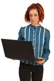 Business woman working by laptop Royalty Free Stock Photography