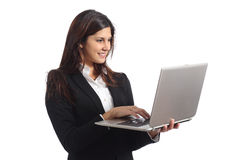 Business woman working with a laptop Stock Image