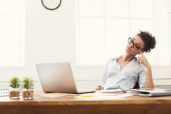 Business woman working on laptop at office stock image