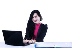 Business woman working with laptop Stock Photos
