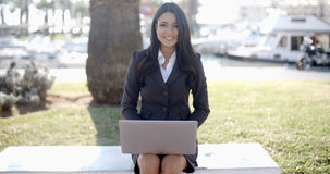 Business Woman Working On Laptop Outdoor Royalty Free Stock Photo