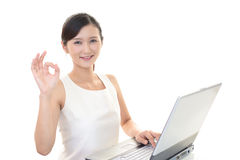 Business woman working on a laptop Royalty Free Stock Photo