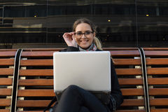 Business woman working on a laptop. Royalty Free Stock Photo