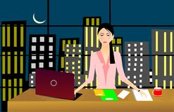 Business woman working late night Royalty Free Stock Photography