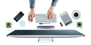 Business woman working at office desk Stock Photos