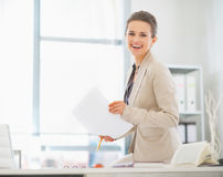 Business woman working in office with documents Royalty Free Stock Image