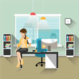 Business woman working in office. Girl sitting on desk in office with notepad in hand vector illustration