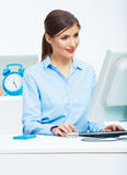 Business woman working at office. Young female model Royalty Free Stock Photo