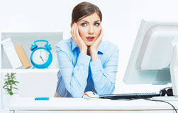 Business woman working at office. Young female model Stock Photography