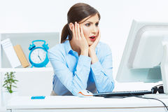 Business woman working at office. Young female model Stock Images