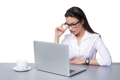Business woman working online on a laptop Royalty Free Stock Images