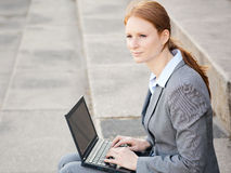 Business Woman Working Outdoor Royalty Free Stock Images