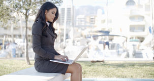 Business Woman Working In The Park Royalty Free Stock Images