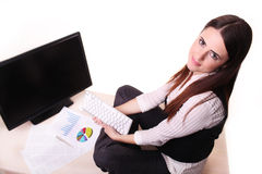 Business woman working on pc at office Stock Photography