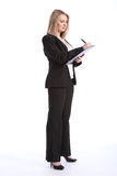 Business woman working with pen and clipboard Stock Photography
