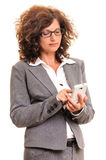 Business woman working on smart phone Royalty Free Stock Photo