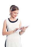 Business woman working with a tablet Stock Photography