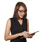 Business woman working on a tablet. Stock Photo