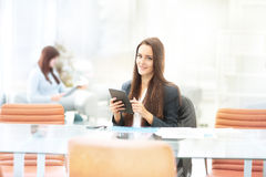 Business woman working with tablet in office stock image