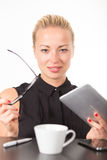 Business woman working on tablet PC. Royalty Free Stock Photography