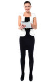 Business woman working on tablet pc Royalty Free Stock Photo