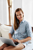 Business Woman Working, Using Laptop Computer Home. People Communication Royalty Free Stock Photo