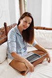 Business Woman Working, Using Laptop Computer Home. People Communication Royalty Free Stock Images