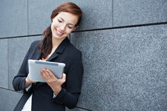 Business woman working on the way Royalty Free Stock Photos