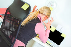 Business woman at workplace covered with sticky Stock Images
