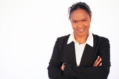Business Woman - workplace diversity. Image of a smiling confident business woman (african american), conceptual workplace diversity (please note this woman is royalty free stock photos