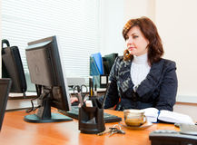 Business woman works royalty free stock photo