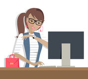 Business Woman Works on His Desktop Royalty Free Stock Images