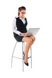 Business woman works on the laptop Royalty Free Stock Images