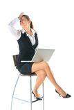 Business woman works on the laptop Royalty Free Stock Image