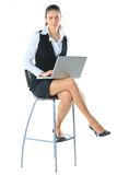 Business woman works on the laptop Stock Photos
