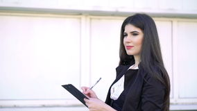 Business woman works with tablet stock video