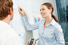 Business woman in workshop pointing to graph Stock Images
