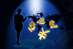 Business woman and world currency in frond of worl Royalty Free Stock Image